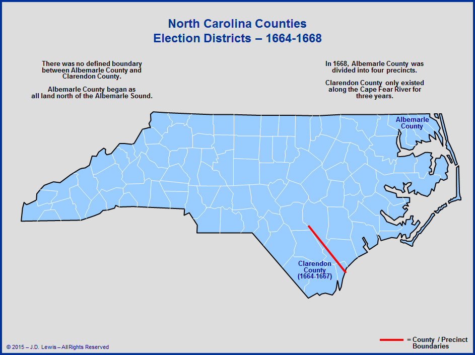Carolina The House Of Burgesses Election Districts Map 1664 To