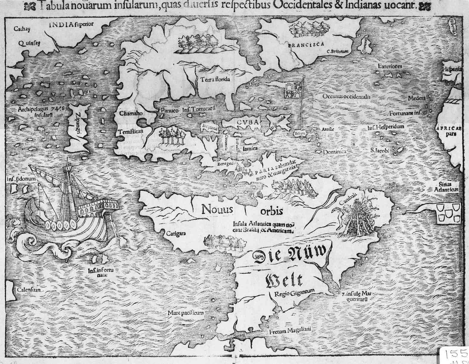 1550 Map of the New World Latin
