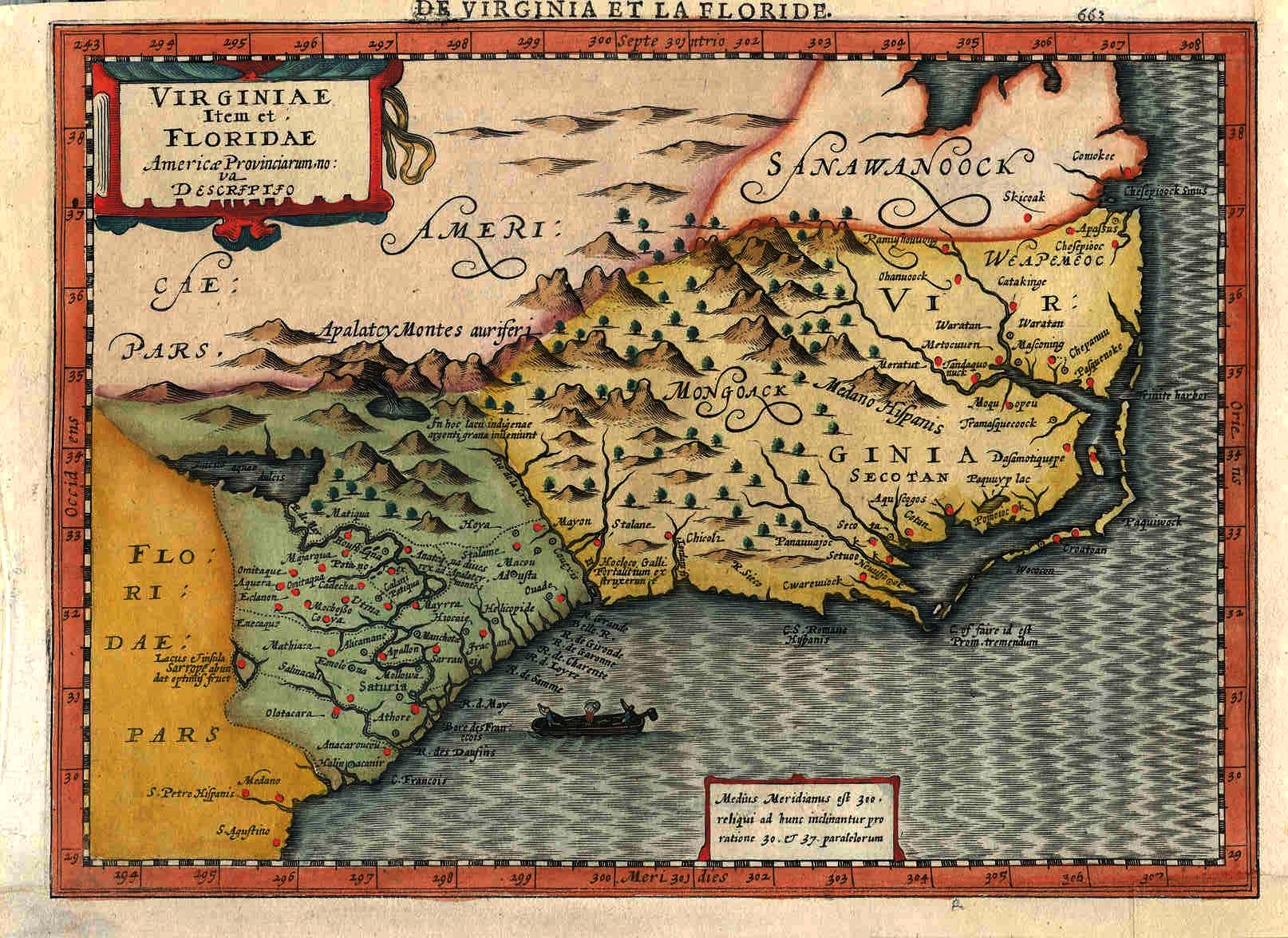 1630 Map of Southeastern USA - Latin