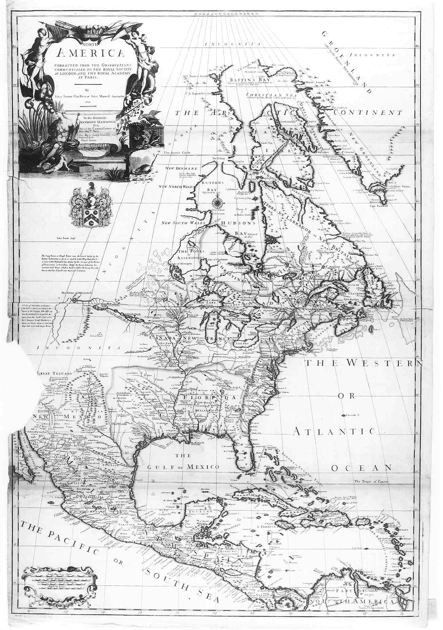 1710 Map of North America  English