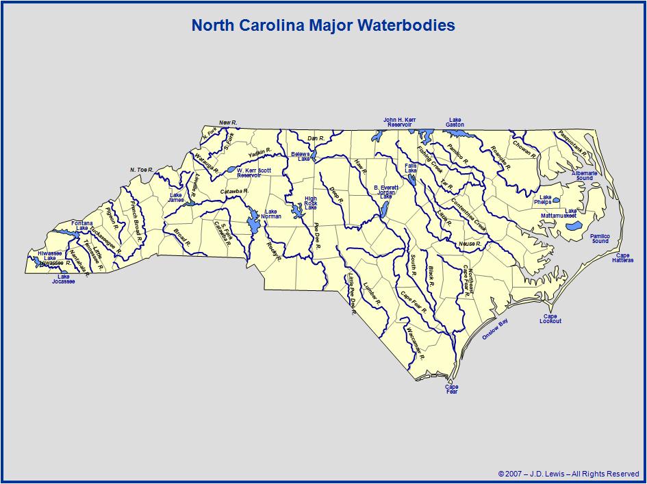 North Carolina Rivers And Lakes Map