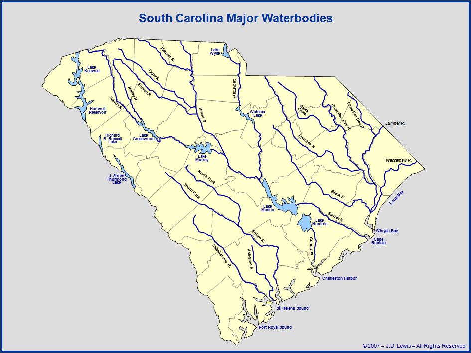 South Carolina Rivers Map Bnhspine Com