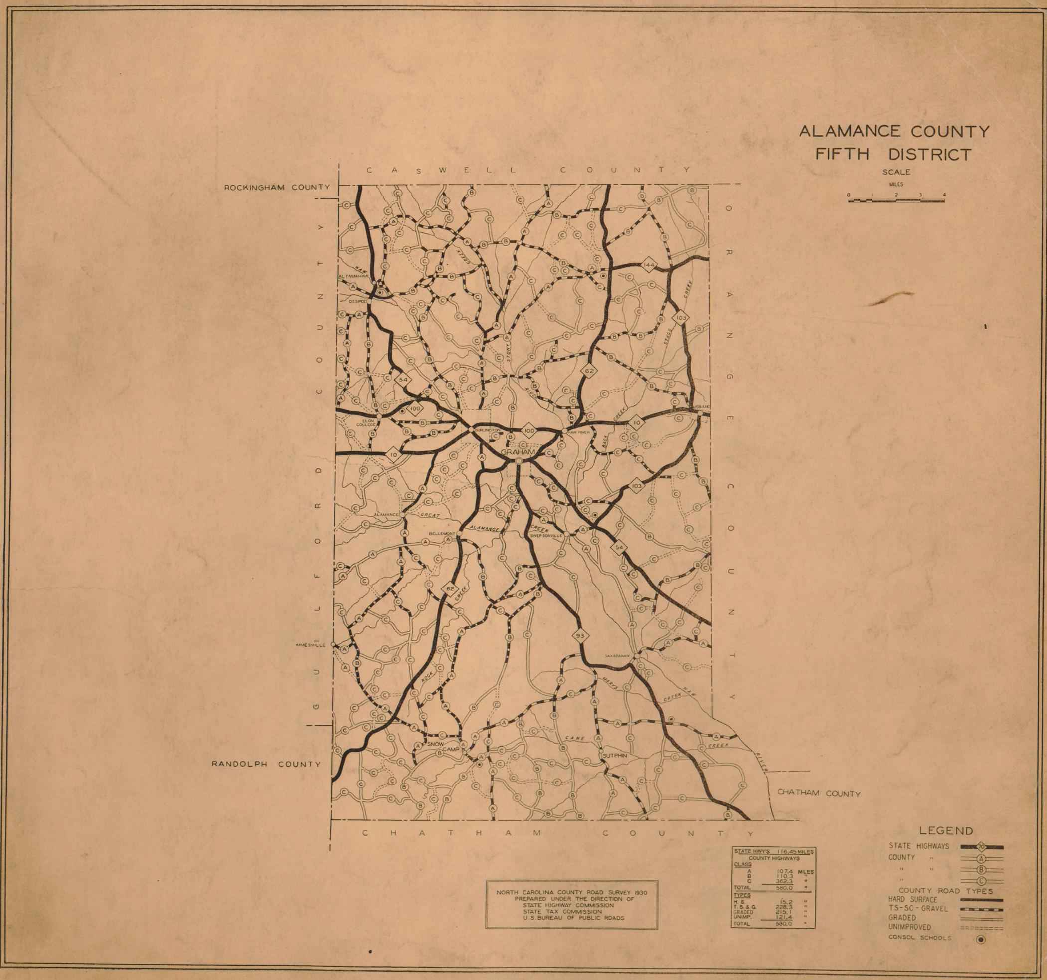 1930 Road Map of Alamance County, North Carolina Road Map For Alamance County North Carolina on cherokee county north carolina road map, outer banks north carolina road map, clemmons north carolina road map,