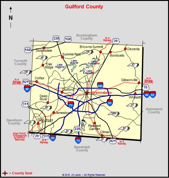 Guilford County North Carolina: Guilford County Map At Slyspyder.com