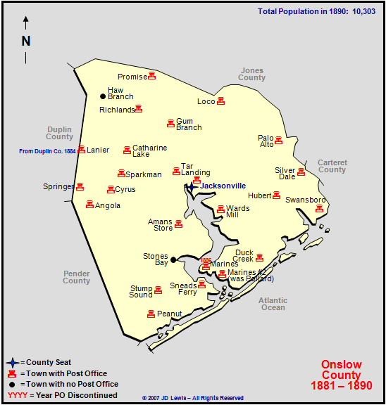Onslow County Nc 1881 To 1890