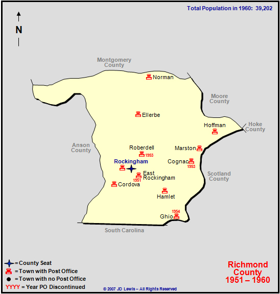 Richmond County Nc Map.Richmond County Nc 1951 To 1960