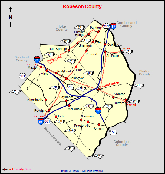 Nc State Map County.Robeson County North Carolina