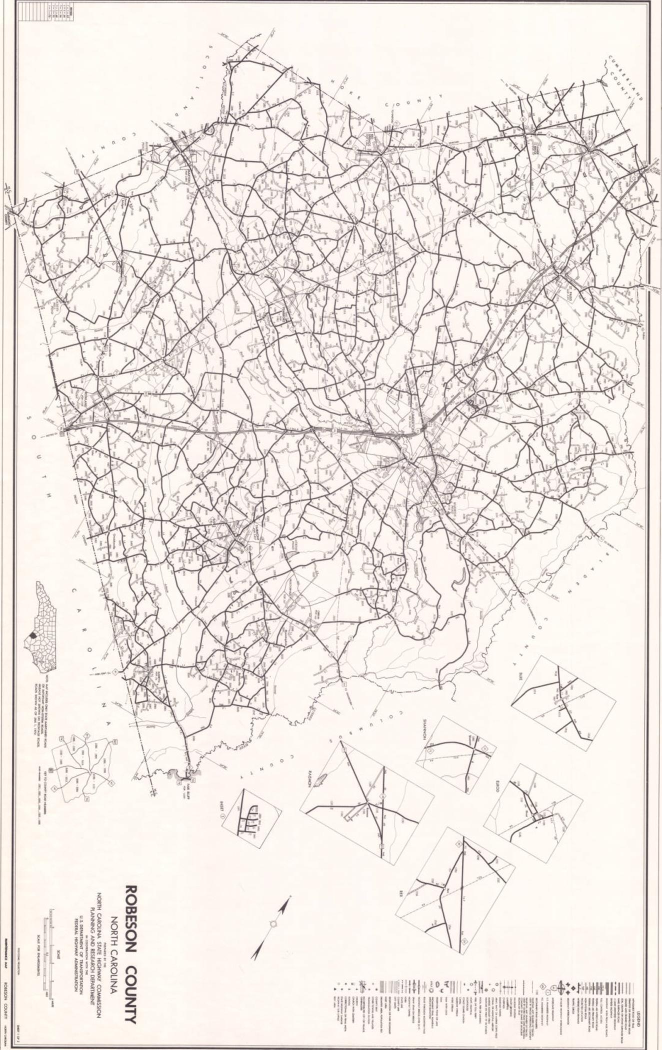 1972 Road Map Of Robeson County North Carolina