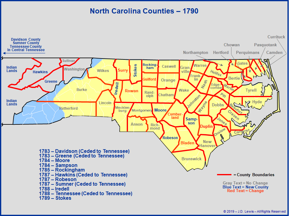 North Carolina - Counties Established Between 1781 and 1790