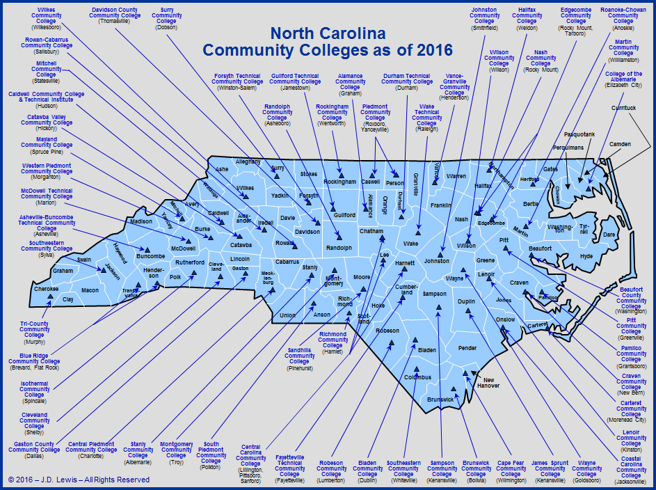 North Carolina Education - Community Colleges as of 2016