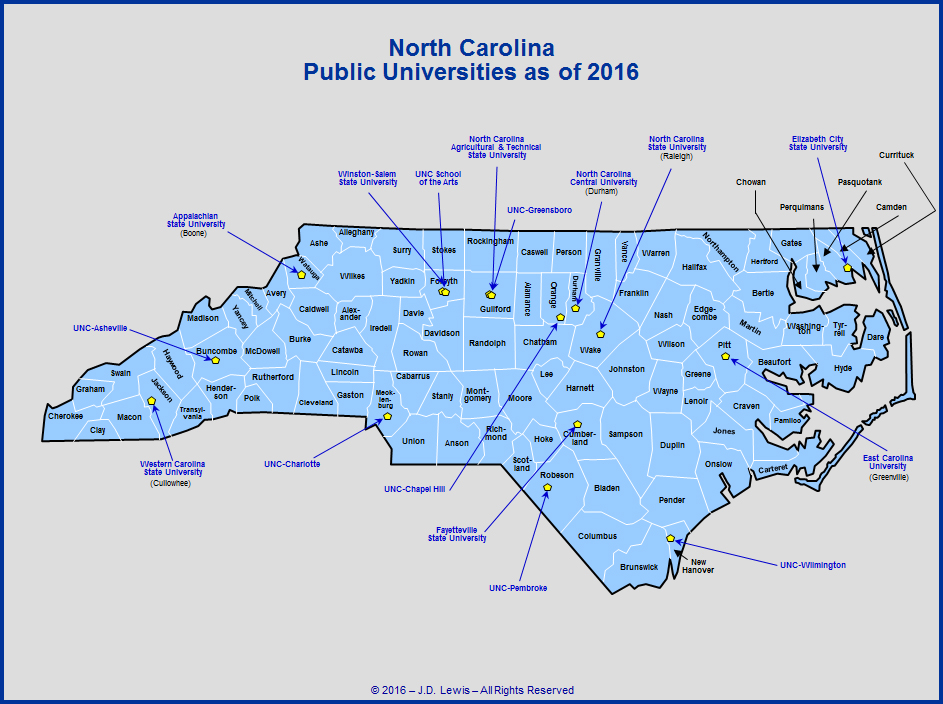 North Carolina Universities Map North Carolina Education   Public Colleges and Universities as of 2016
