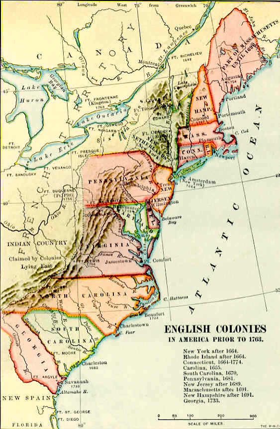 Map Of The Colonies English - Georgia map english