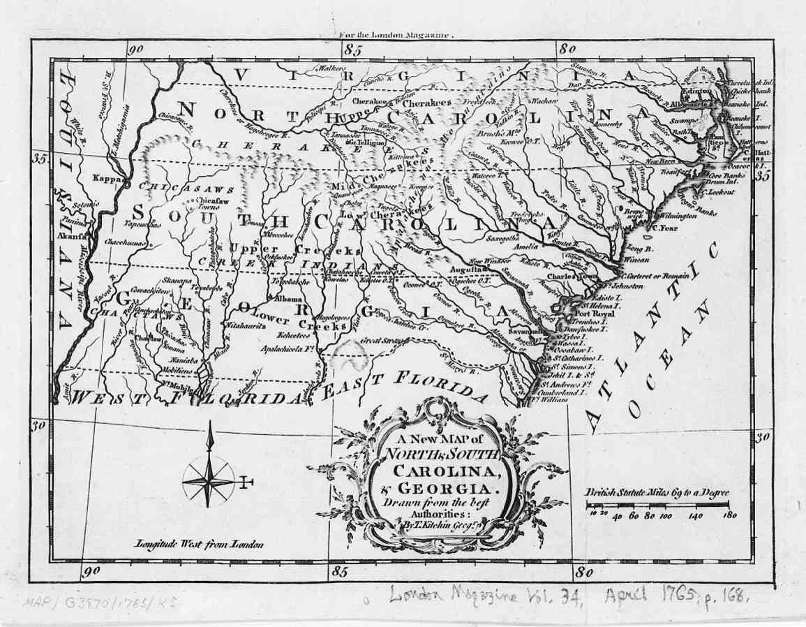 Map Of Georgia 1700.1765 Map Of The Carolinas And Georgia English