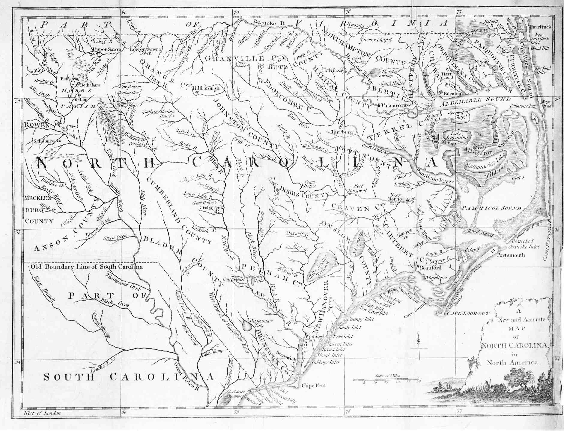 1779 Map of North Carolina - English