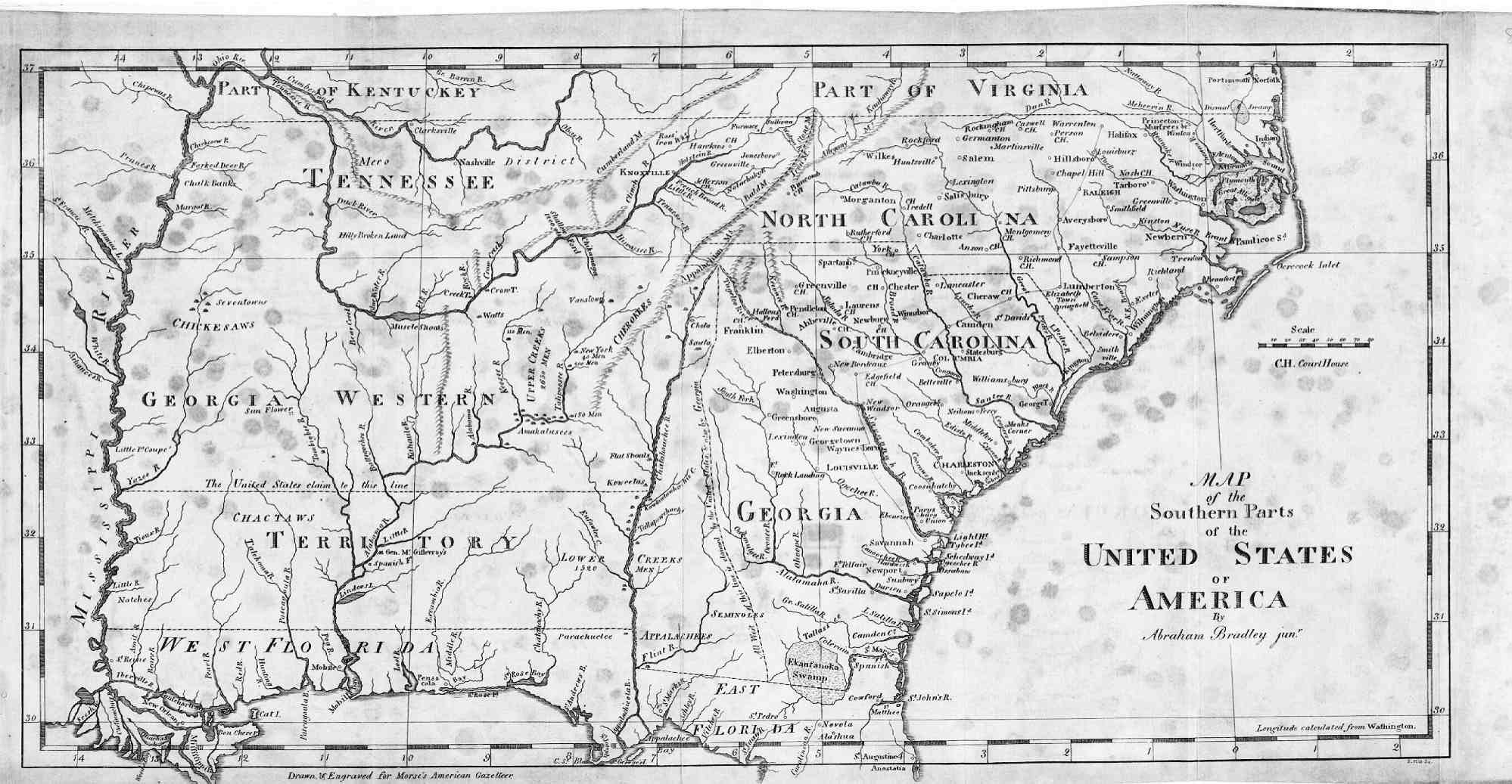 1797 Map of the Southeast  American