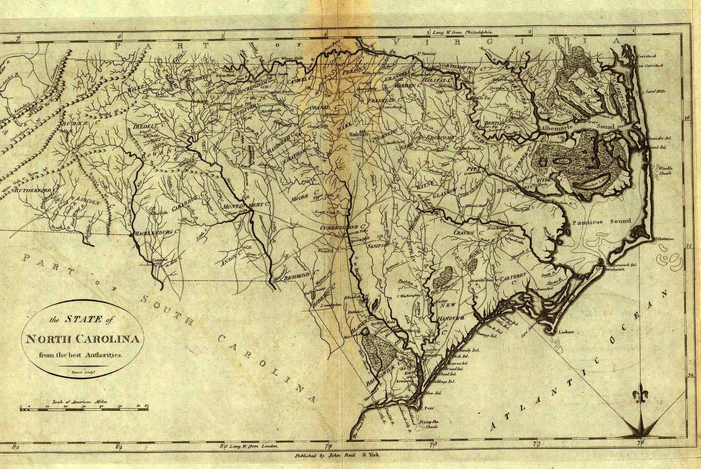 1800 Map of North Carolina - English