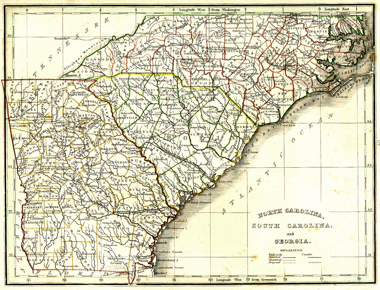 1820 Map of North Carolina South Carolina and Georgia American