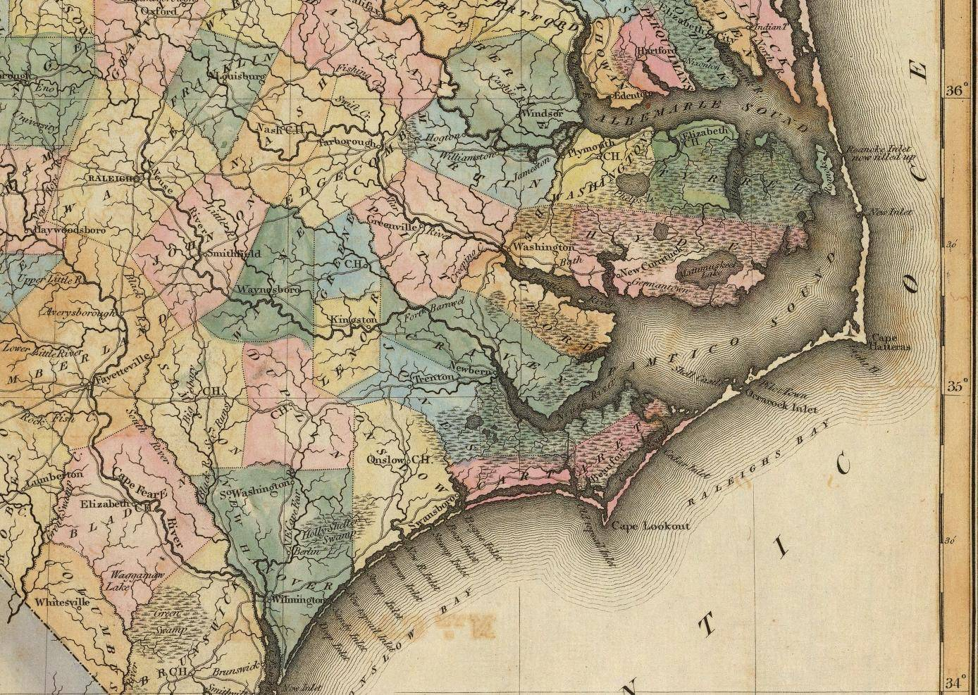 1823 Map of North Carolina - Eastern Enlargement - American