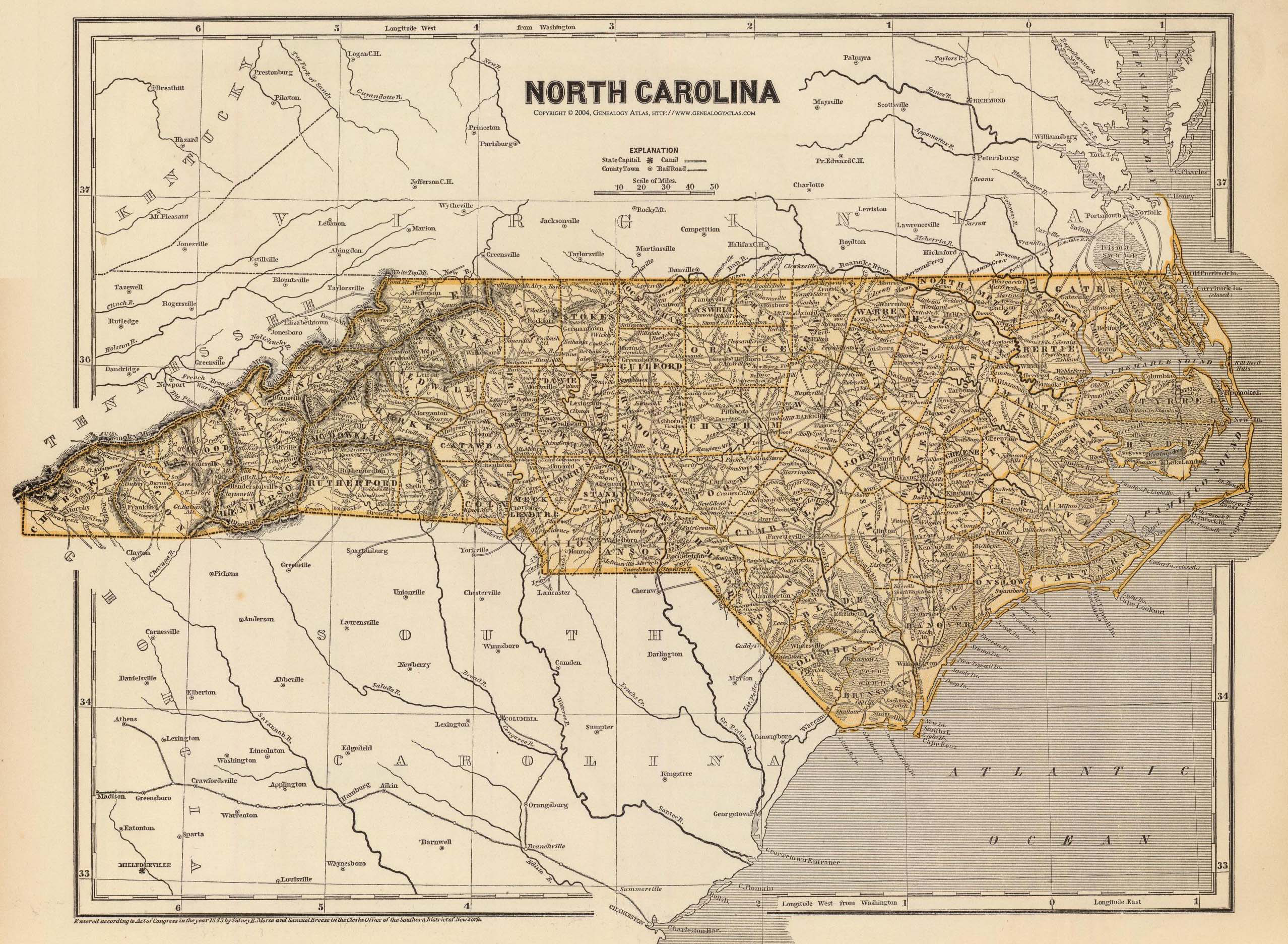 1845 Map Of North Carolina  American