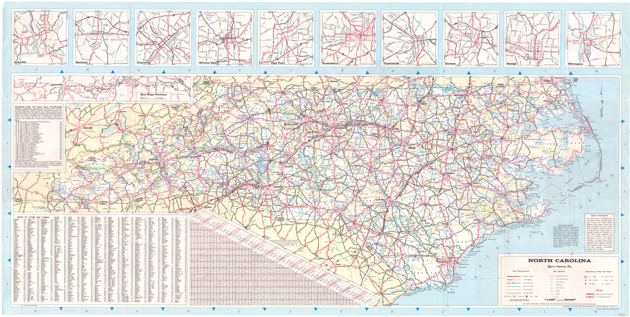 North Carolina Road Map - 1966