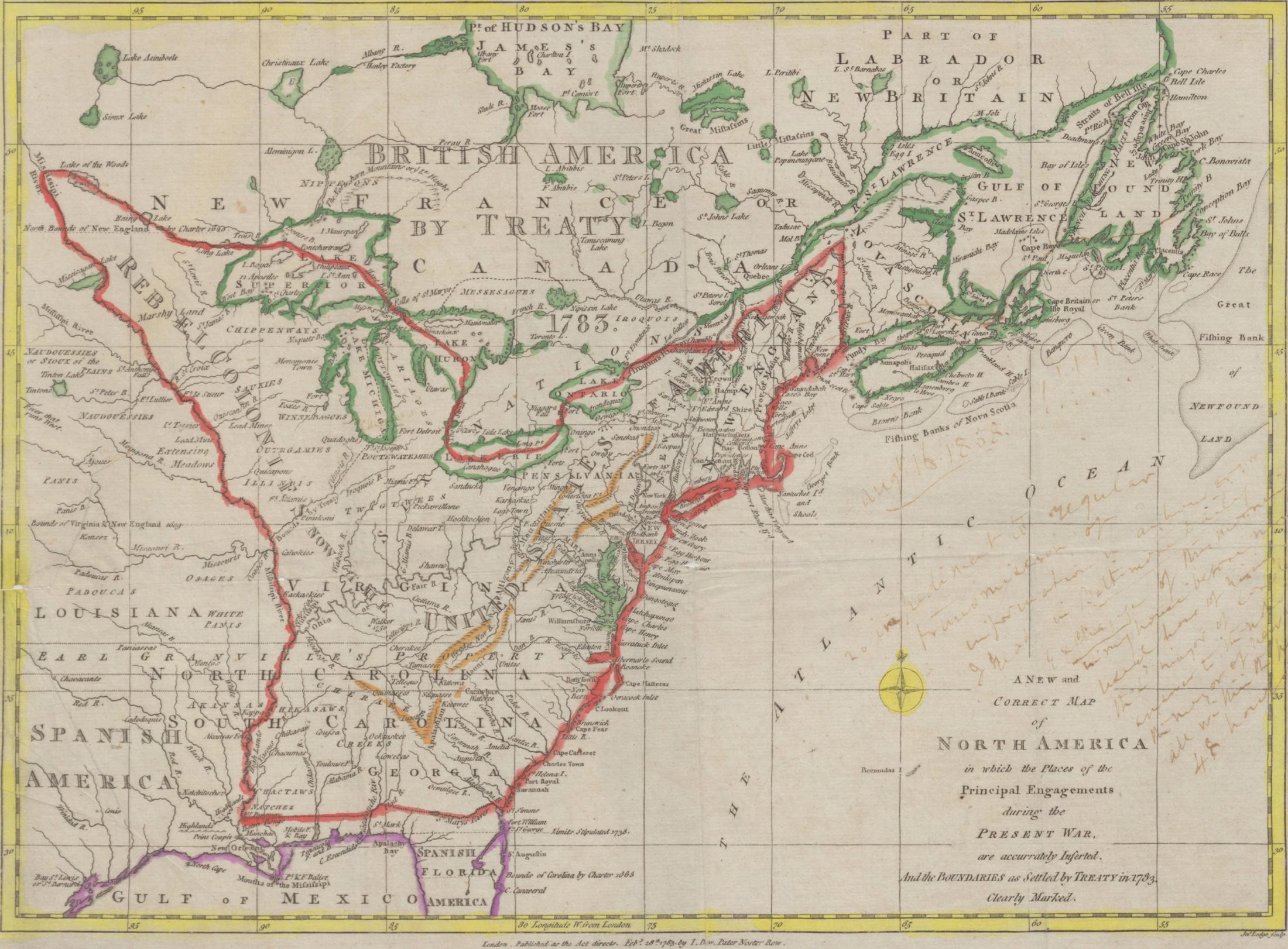 1783 Map Of North America English