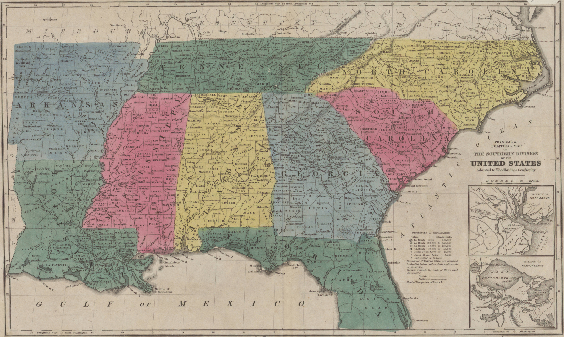 1843 Map of the Southeastern United States - English