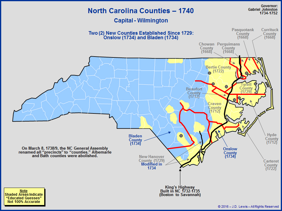 The Royal Colony of North Carolina - Counties as of 1740 on king texas map, king of home, king of orchids, king james map,