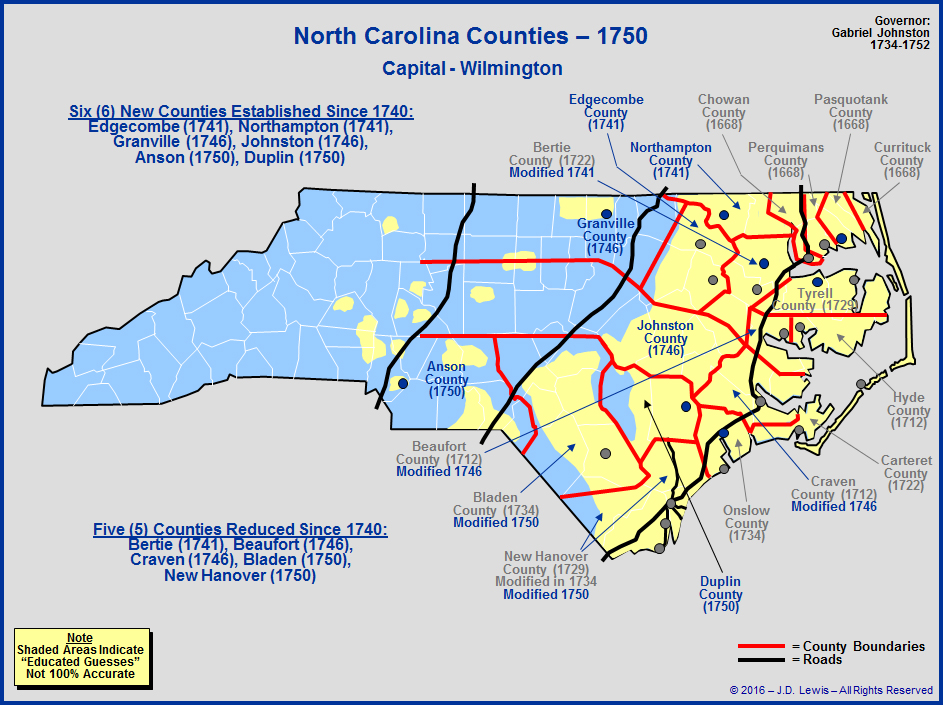 The Royal Colony of North Carolina - Counties as of 1750 on map sc c, map of north a, map of north carolina,