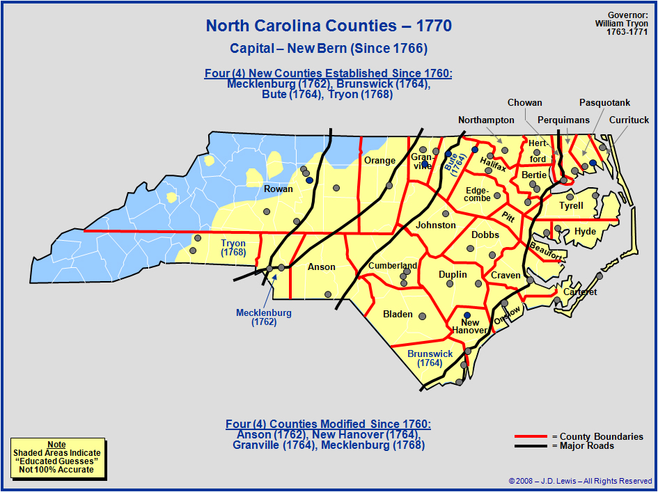 North Carolina Colony Map The Royal Colony of North Carolina   Counties as of 1770
