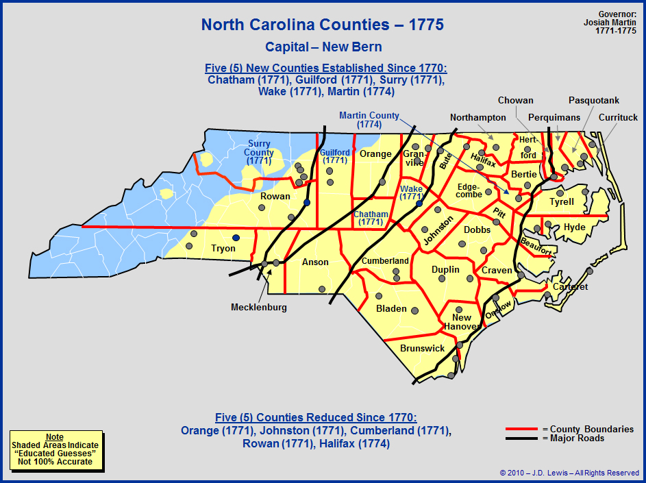 The Royal Colony Of North Carolina  Counties As Of 1775
