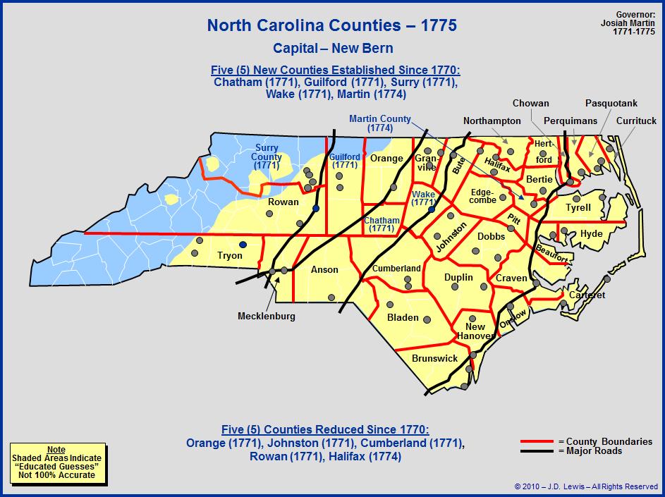 North Carolina Colony Map 1653 Bnhspine Com
