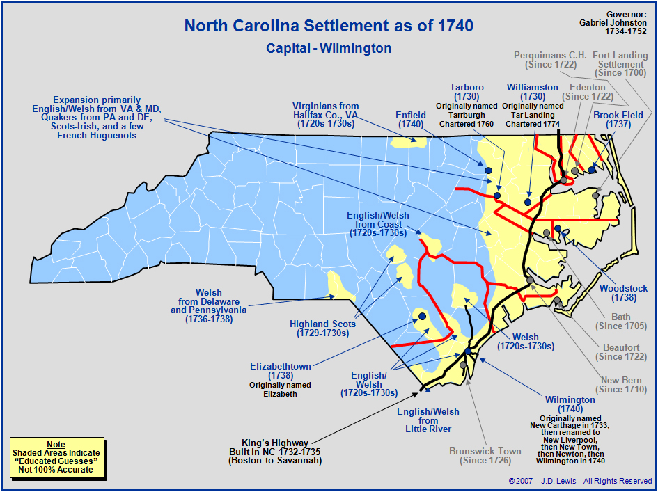 The Royal Colony Of North Carolina  The Towns And