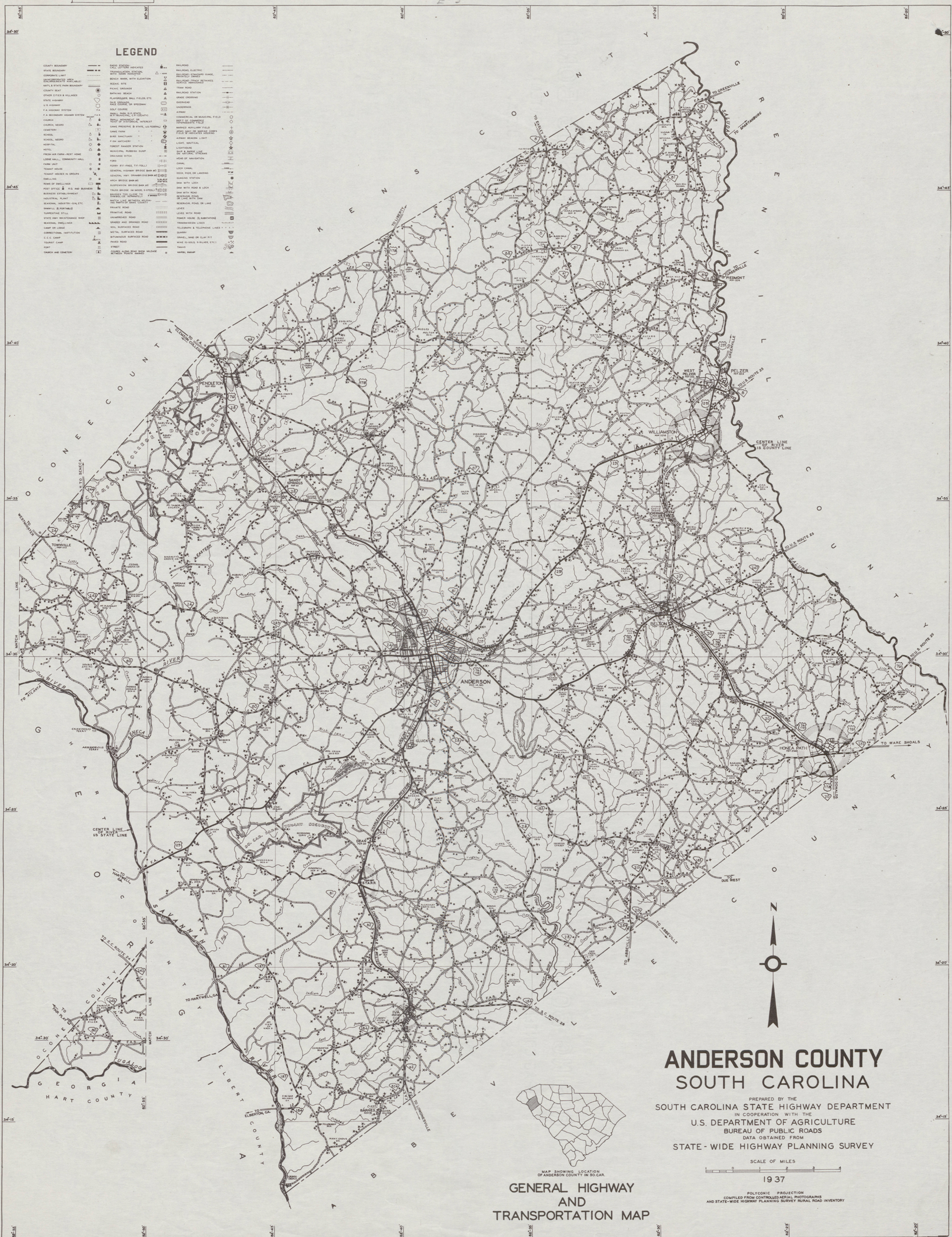 1937 Road Map of Anderson County, South Carolina Sc Road Map on sc airport map, sc railway map, sc island map, sc town map, sc agriculture map, downtown charleston sc attractions map, historic downtown charleston map, sc water map, sc route map, sc green map, sc state map, sc viper map, sc hotel map, sc interstate map, sc counties highway map, south ga cities map, sc flood maps, sc mining map, sc house map, south carolina map,