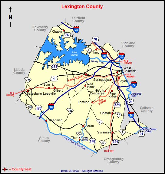 Lexington South Carolina Map Lexington County, South Carolina
