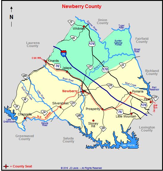 Newberry South Carolina Map Newberry County, South Carolina