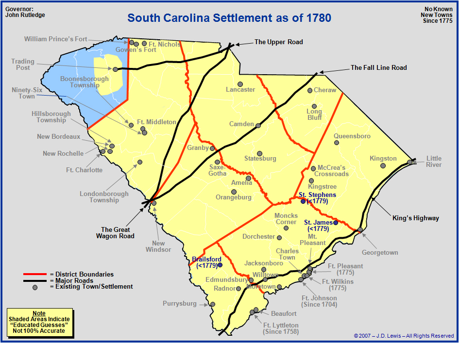 South Carolina From Statehood To The Towns And - South carolina towns map