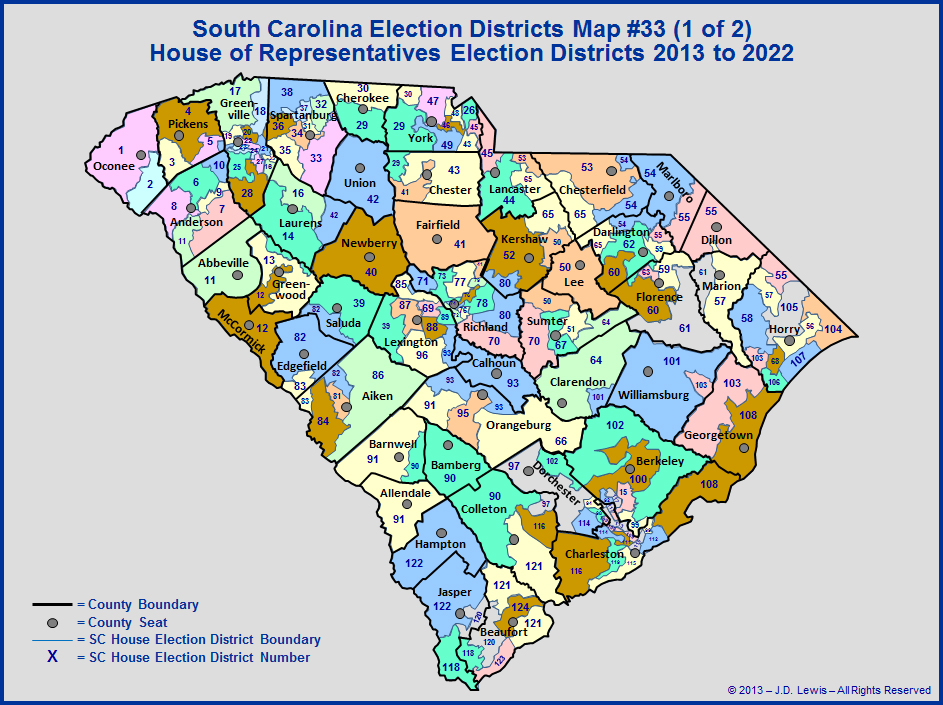 Current SC House Of Representative Districts (Effective 2013)