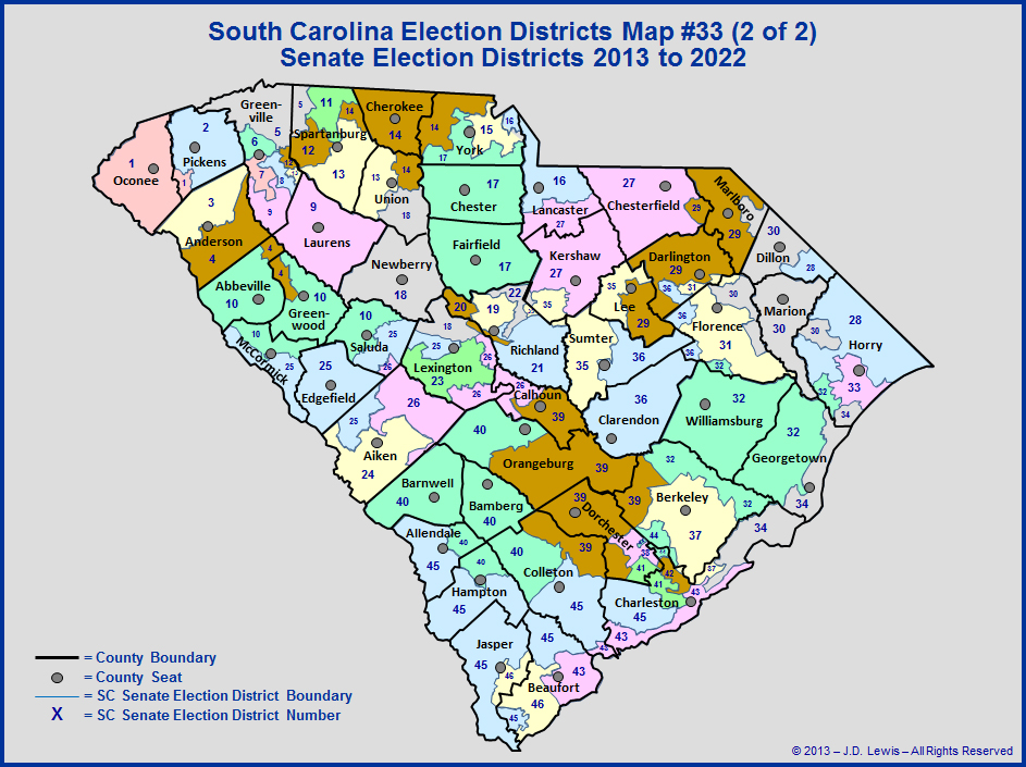 The South Carolina General Assembly  Election Districts
