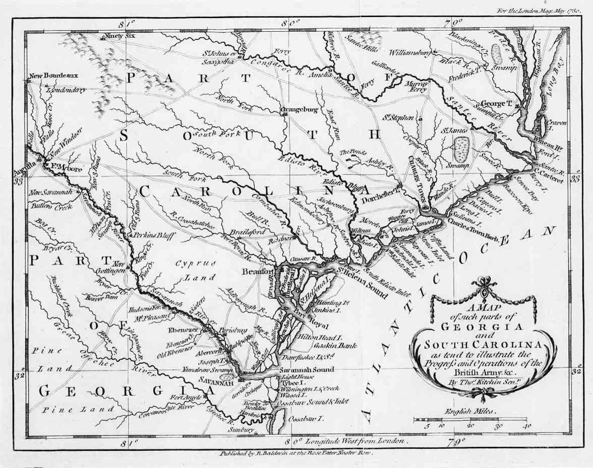 Map Of South Carolina And Georgia During Revolutionary War - Map of south georgia