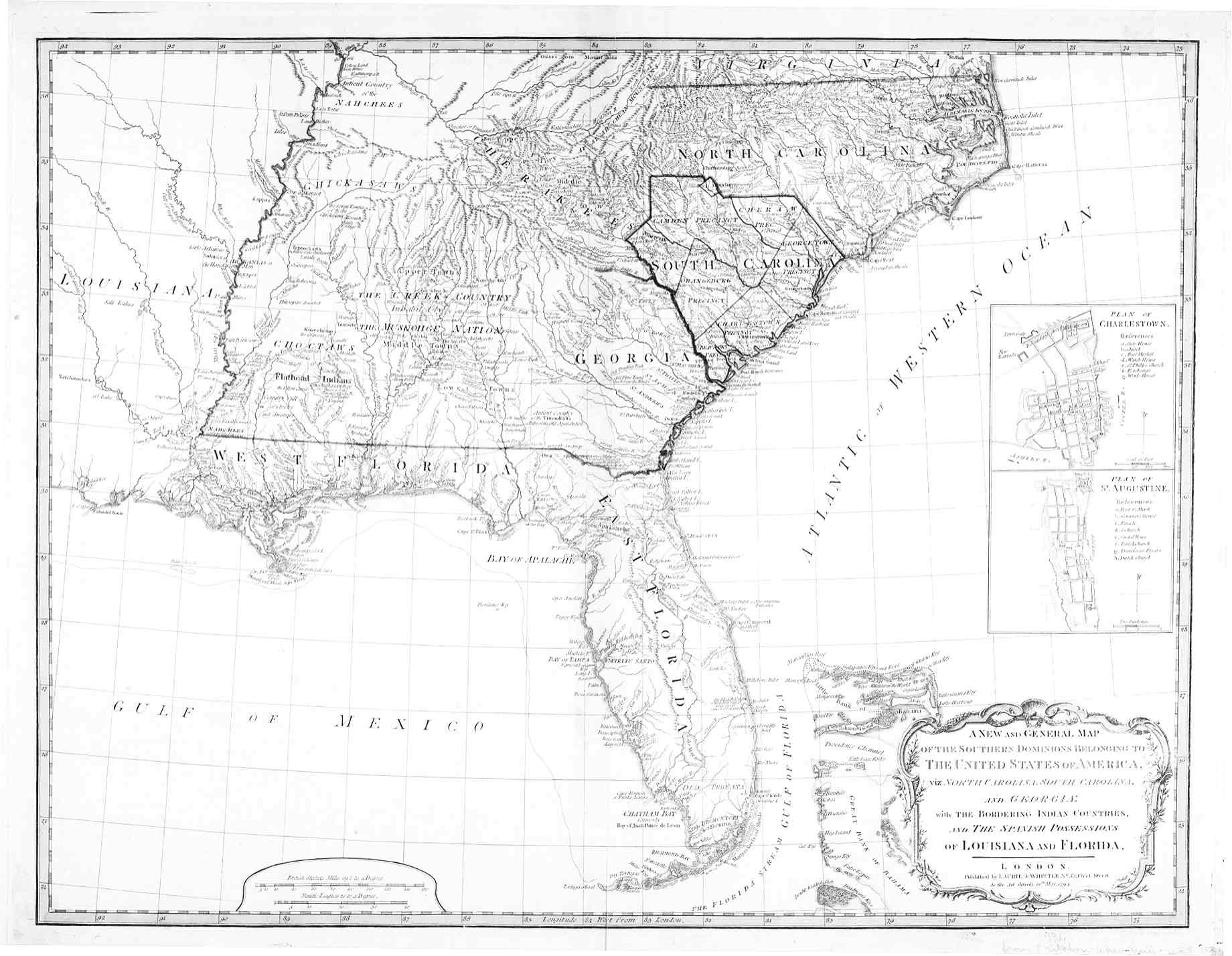 1794 Map of the Southeast  American