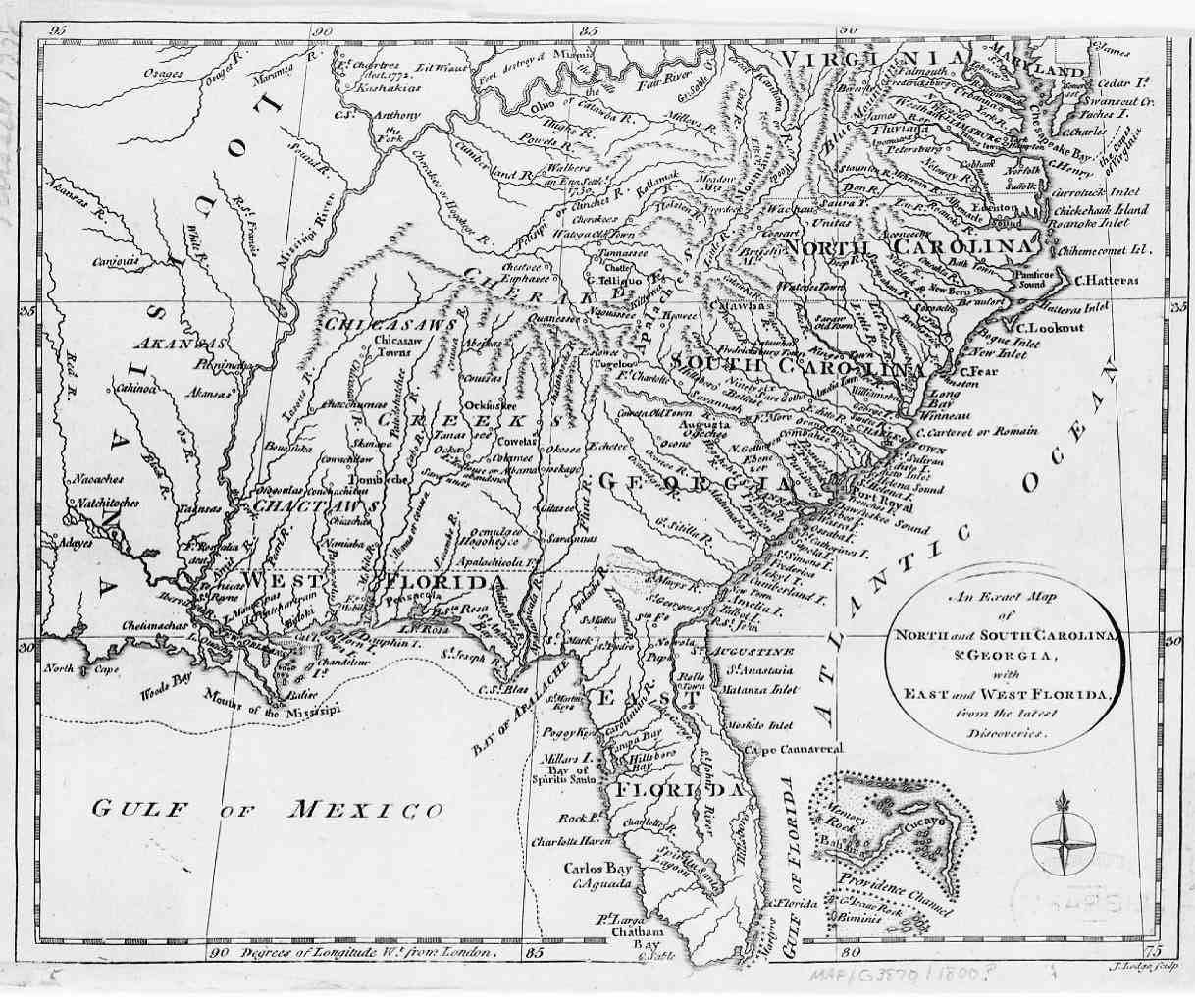1800 Map of Southeastern USA - English