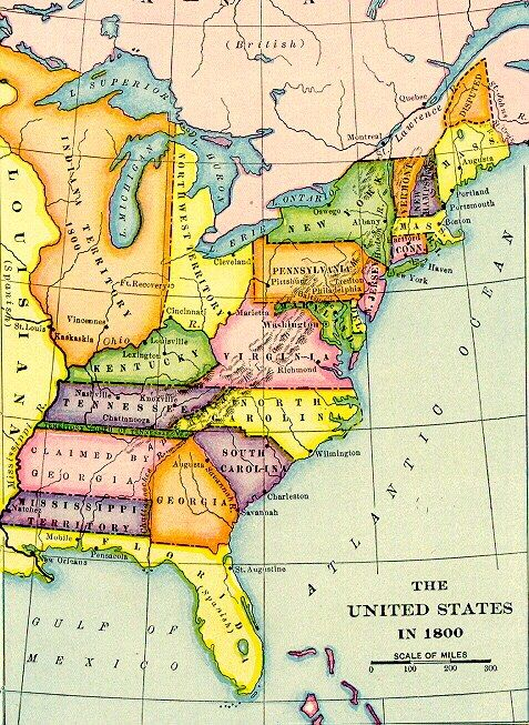 1800 Map of USA   English