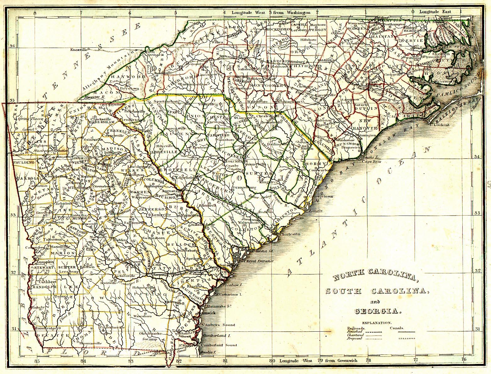 South Carolina Georgia Map 1820 Map of North Carolina, South Carolina, and Georgia   American