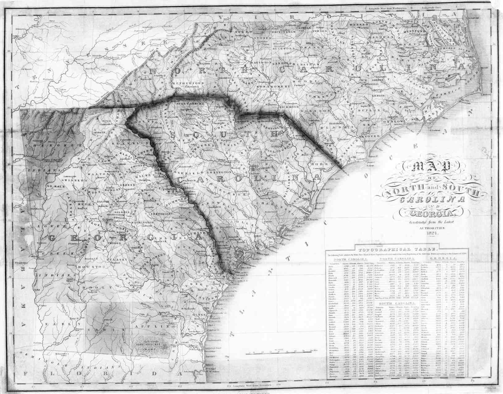 1824 Map of North Carolina, South Carolina, and Georgia ... Sc Ga Map on north carolina earthquake fault line map, ga co map, ga nv map, ga nc map, ga regions map, ga district map, ga tn map, ga elevation map, ga state map, ga fl map, ga interstate map, ga road map, georgia and florida road map, athens ga map, ga al map, ga st map, south carolina map, south ga cities map, ga rivers map, ga ala map,
