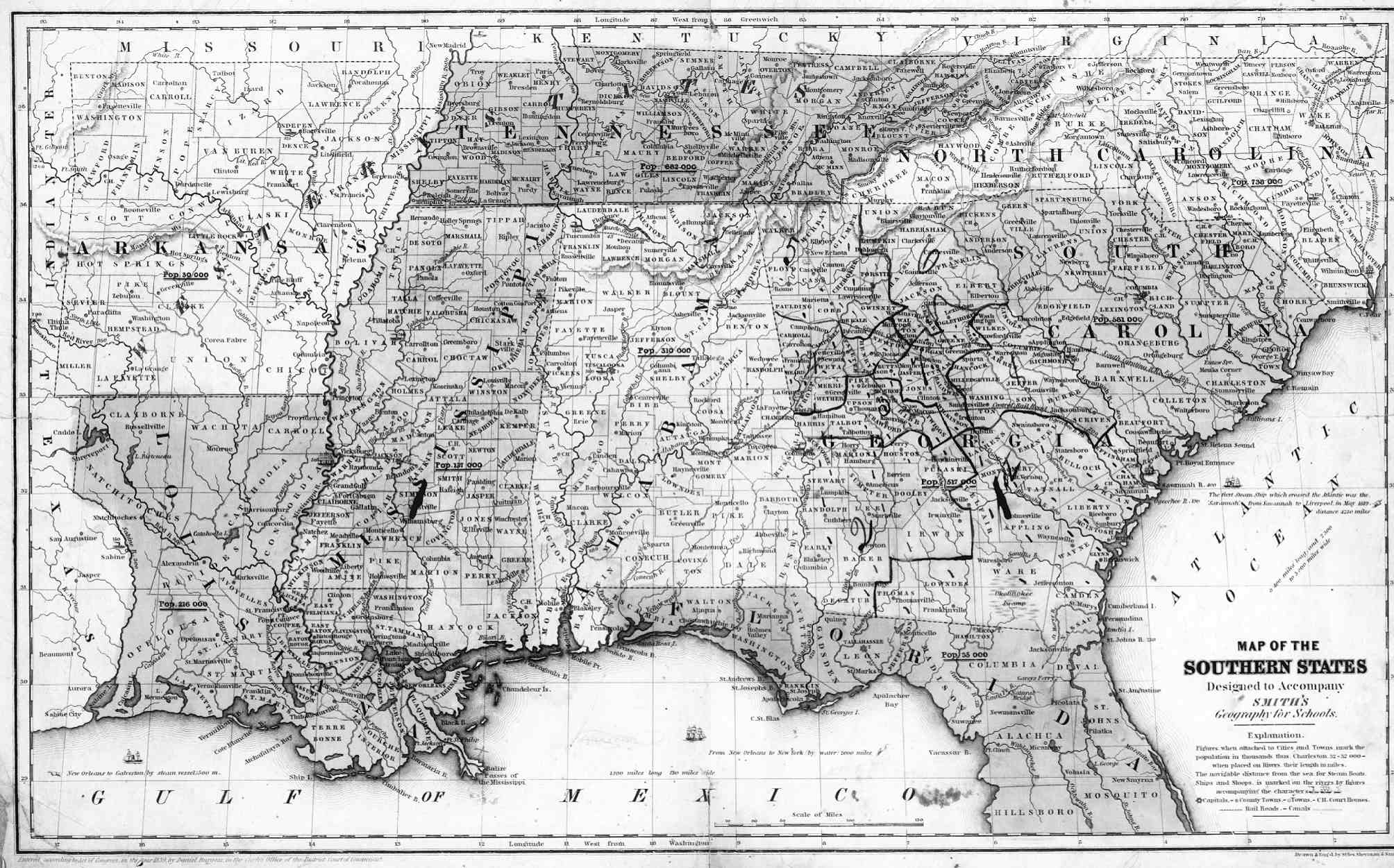 Southeast States Map 1839 map of the southeast -