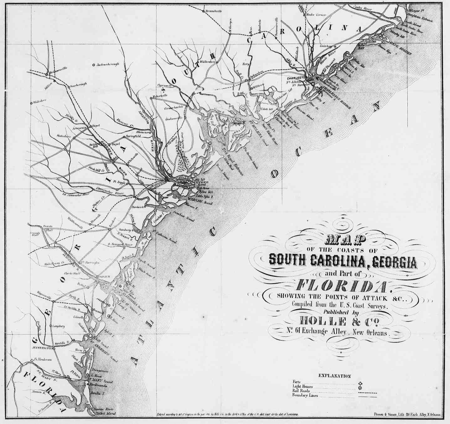 Map Of South Carolina And Georgia Coast American - Map of georgia coast