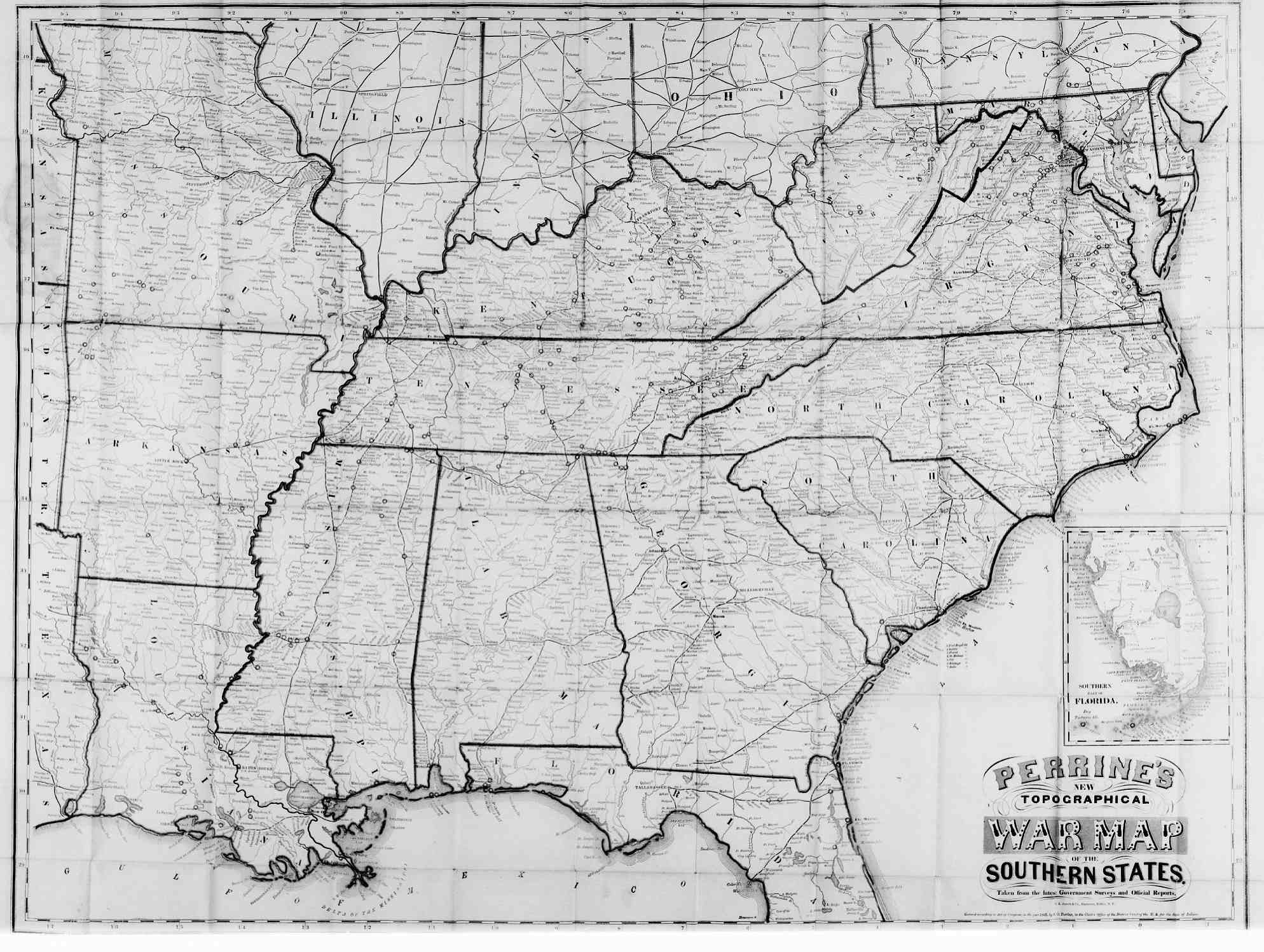 1863 Map of Civil War American
