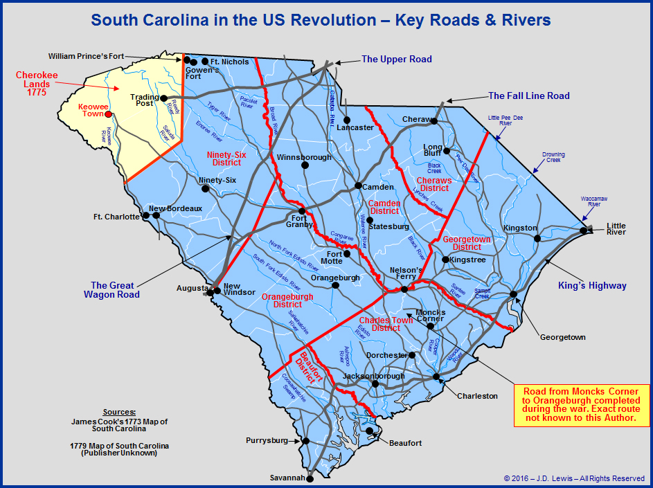 South Carolina In The American Revolution  The Key Roads