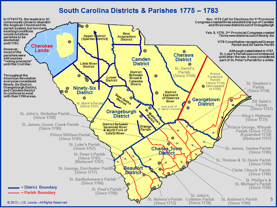 South Carolina in the American Revolution  Districts and Parishes