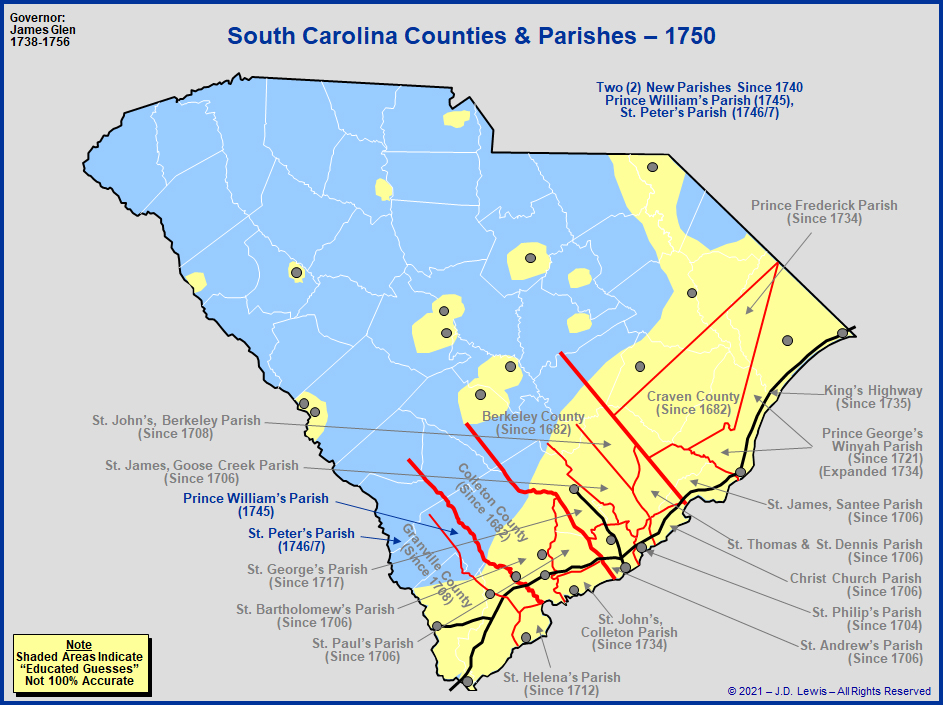 The Royal Colony Of South Carolina  Counties And Parishes
